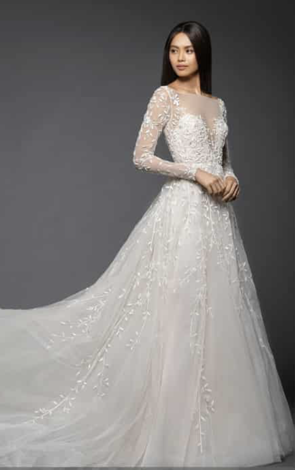 Isabel Long Sleeve Beaded Tulle & Chiffon Gown by Lazaro