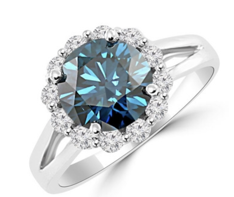 Blue Diamond Halo JewelryPoint.com